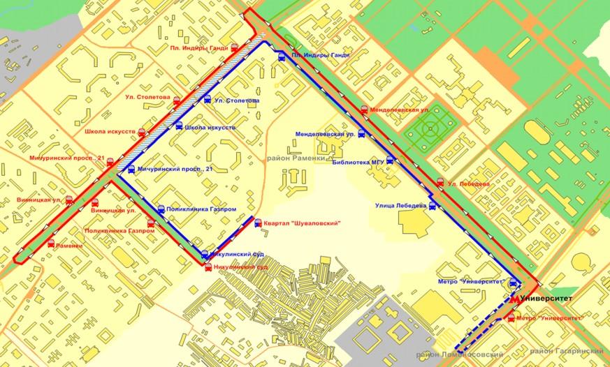 Схема маршрута 826 автобуса
